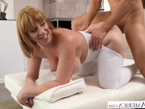 Single mother Sara Jay wanted hot incest with her son after good workout