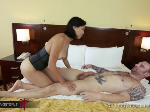 Tattooed man is having fun with busty asian milf in hotel room