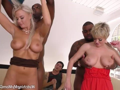 The guy in shock from horny mature mom and aunt, who fuck in front of him with black men