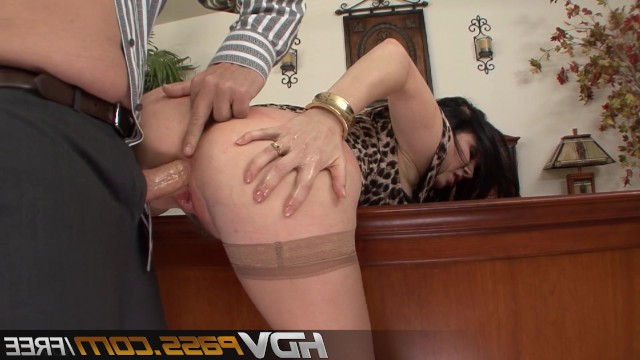 The man carefully licked holes of big tit mature brunette and made her moan from the fucking