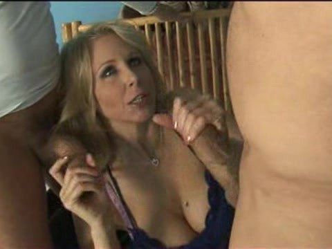 The men hired a very relaxed mature blonde for hard group sex