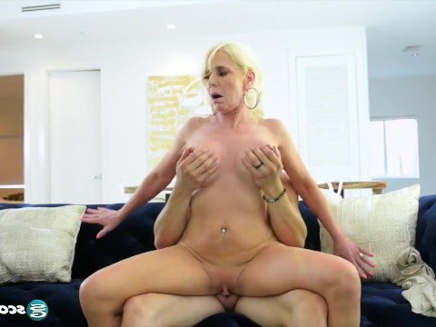 Very hot granny lets young guy fuck her tight asshole