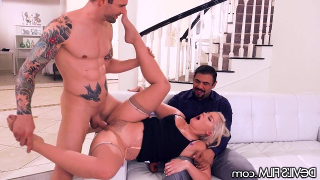 Wife rests on cuckolds lap and gets fucked by her lover