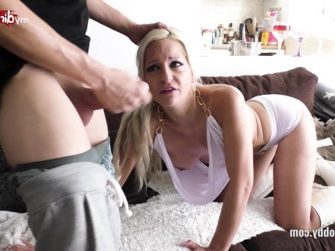 Young blonde milf loves to suck a long dick and hard sex in sweet pussy