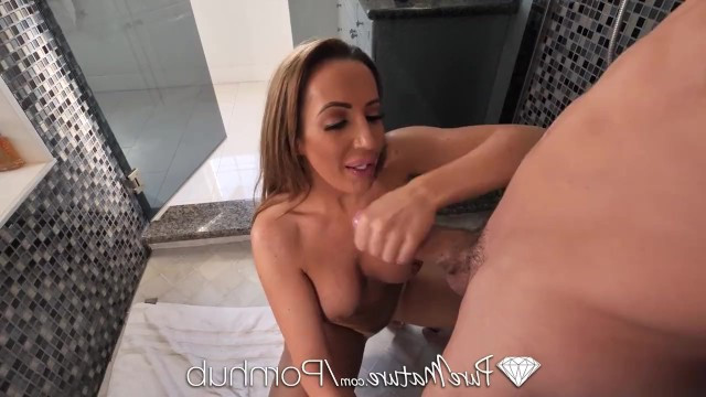 Young macho meets mature milf and fucks her in the shower stall